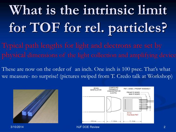 What is the intrinsic limit for tof for rel particles