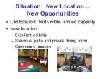 situation new location new opportunities