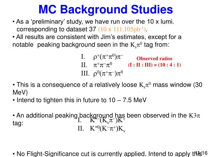 MC Background Studies