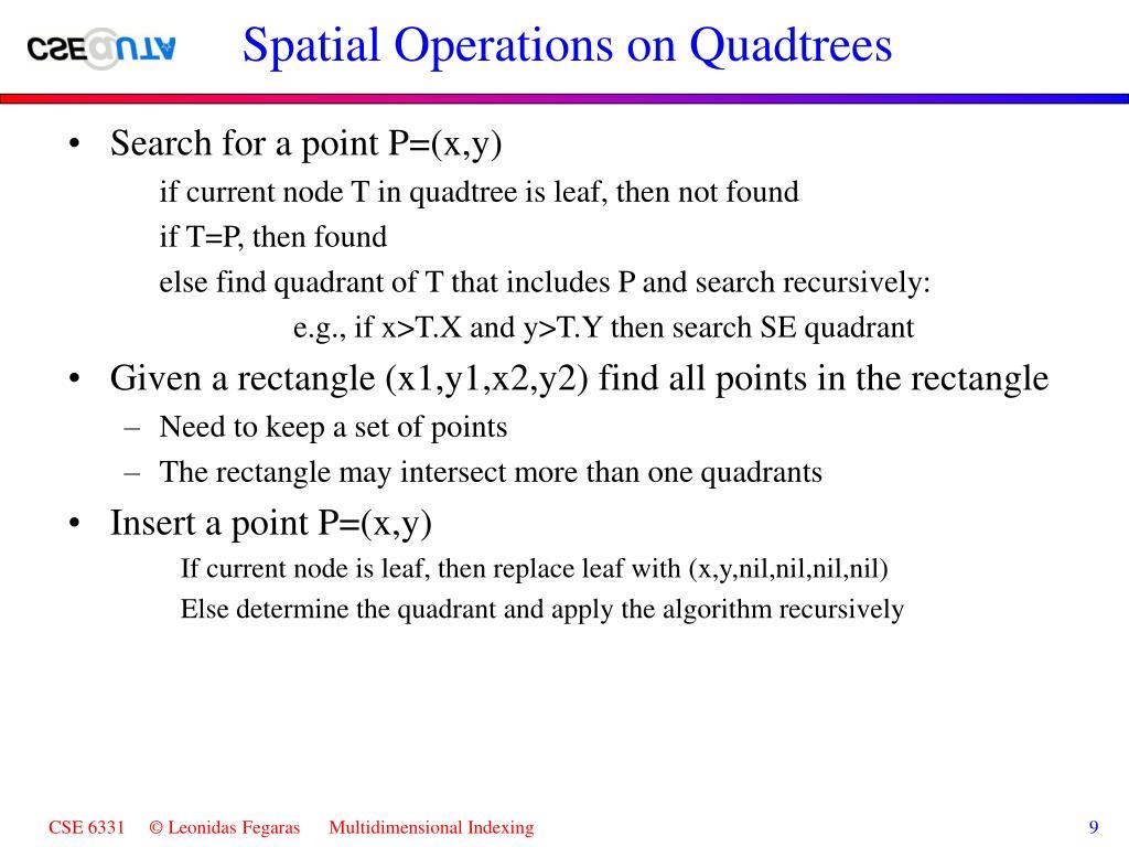 Spatial Operations on Quadtrees