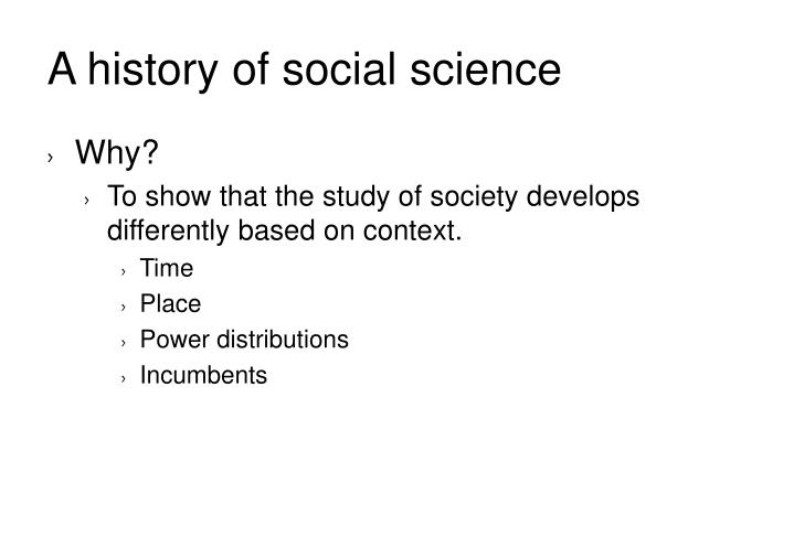A history of social science