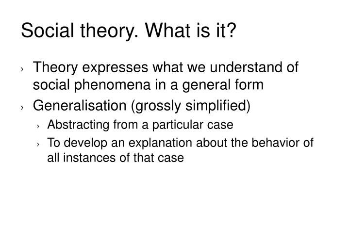 Social theory. What is it?