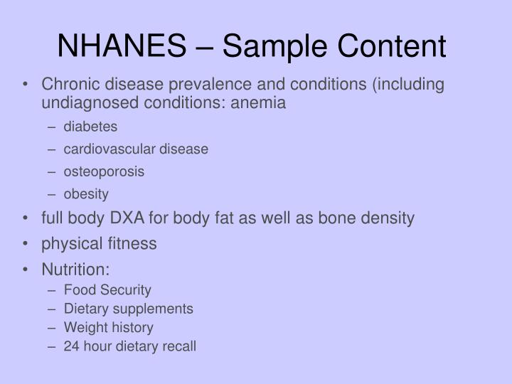NHANES – Sample Content