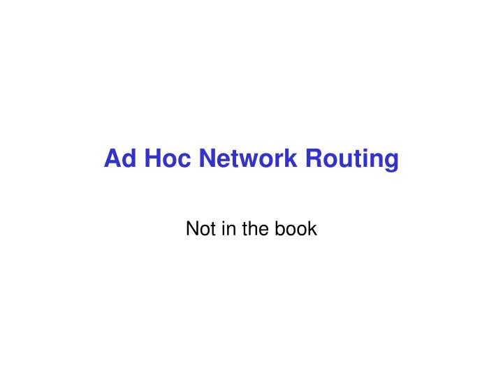 ad hoc network routing n.