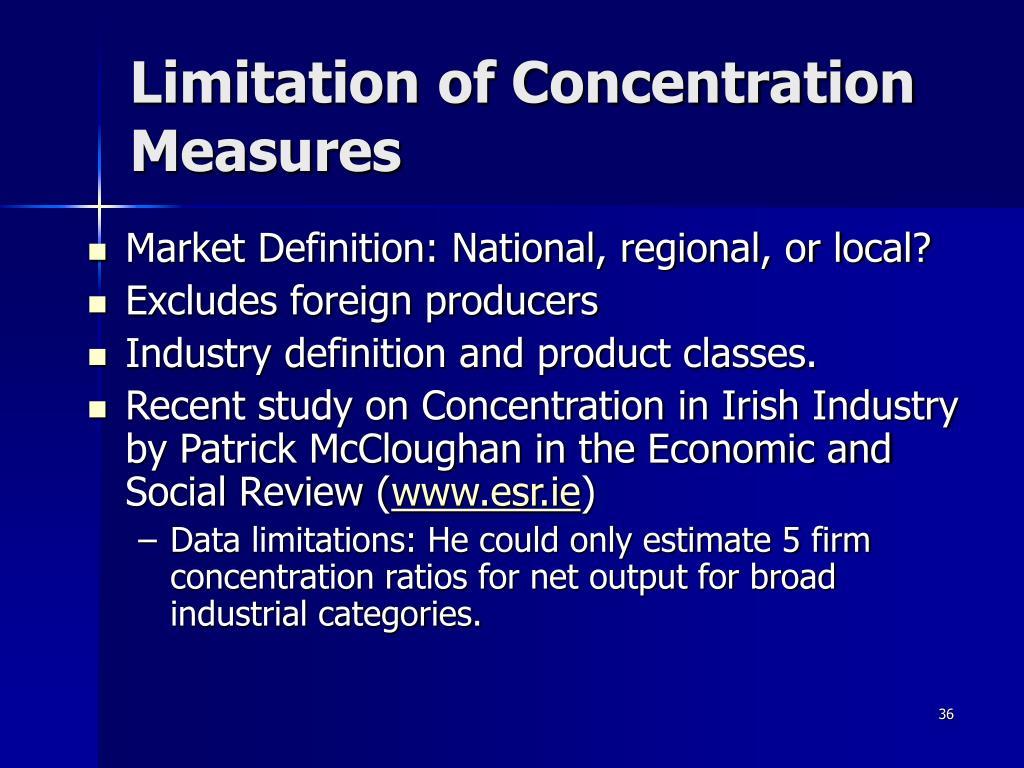 Limitation of Concentration Measures