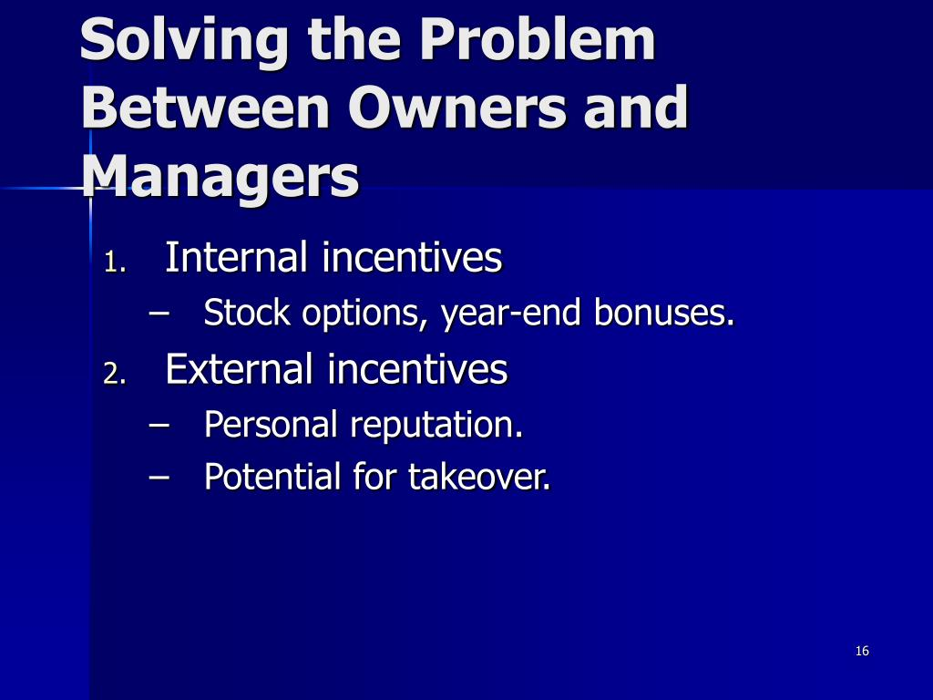 Solving the Problem Between Owners and Managers