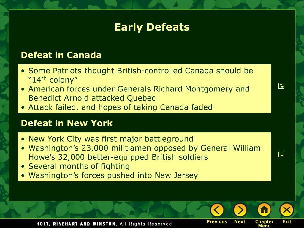 Early Defeats