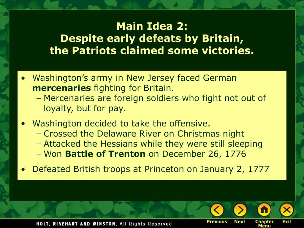 Washington's army in New Jersey faced German