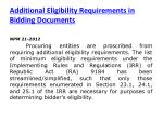 additional eligibility requirements in bidding documents