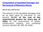 computation of liquidated damages and net amount of retention money