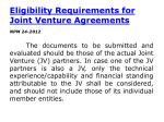 eligibility requirements for joint venture agreements
