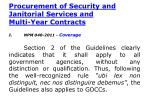 procurement of security and janitorial services and multi year contracts
