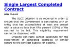 single largest completed contract