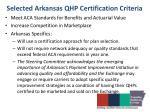 selected arkansas qhp certification criteria