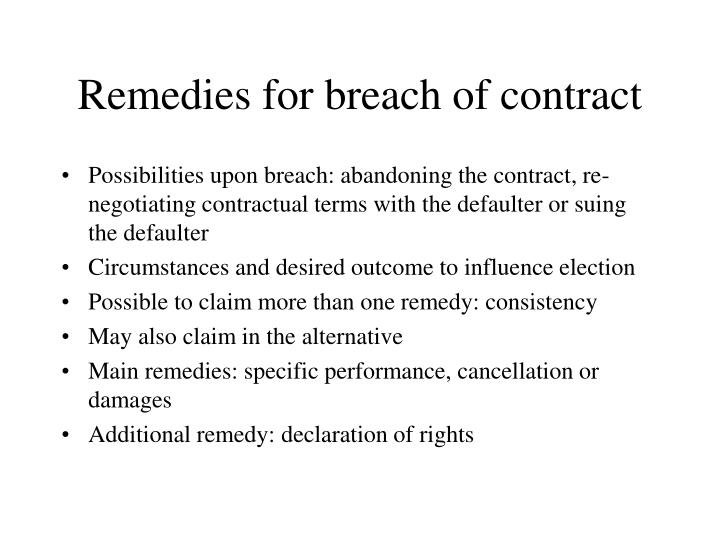 Ppt  Remedies For Breach Of Contract Powerpoint Presentation  Id