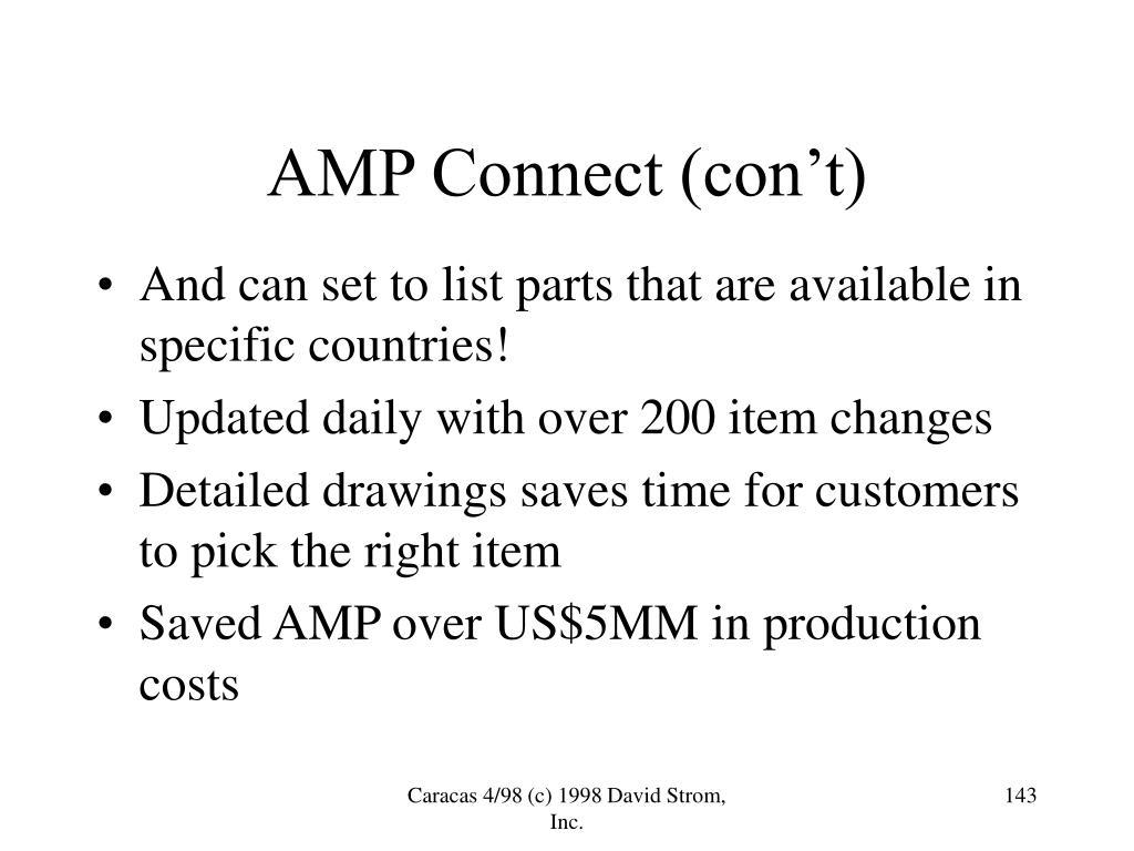 AMP Connect (con't)