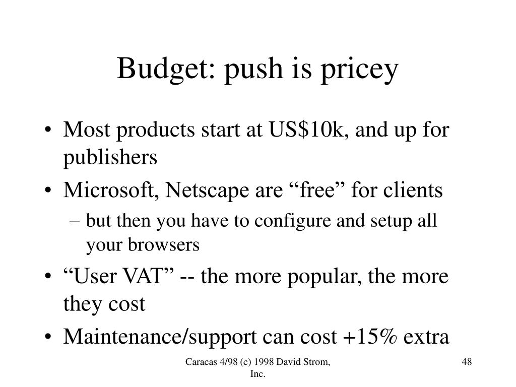 Budget: push is pricey