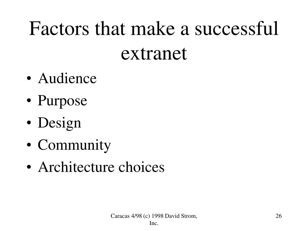 Factors that make a successful extranet