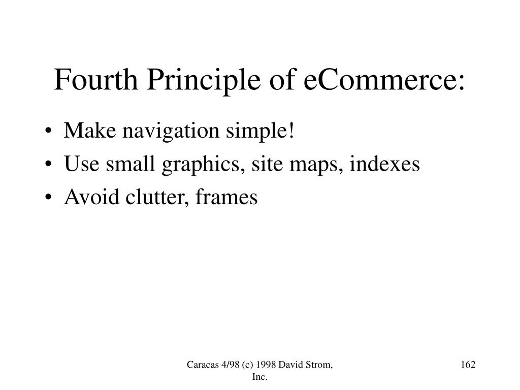 Fourth Principle of eCommerce: