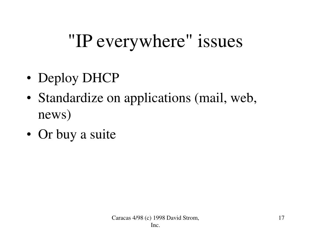 """""""IP everywhere"""" issues"""