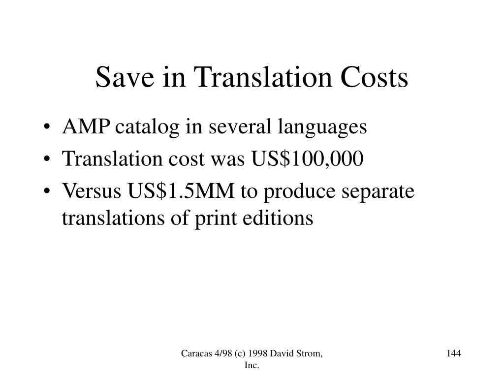 Save in Translation Costs