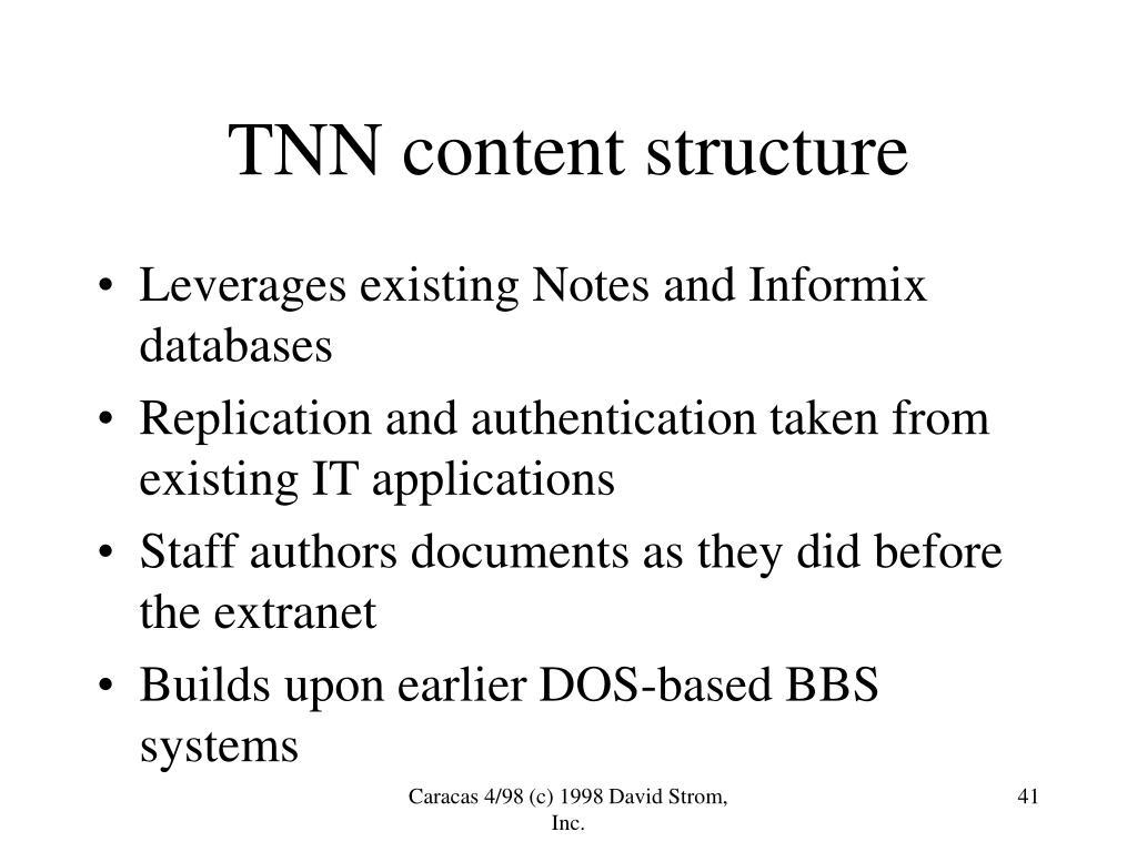 TNN content structure