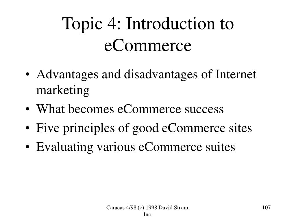 Topic 4: Introduction to eCommerce