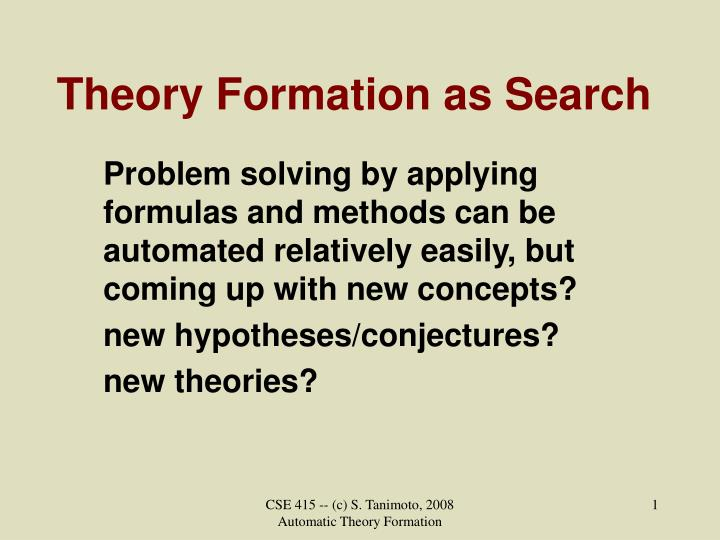 theory formation as search n.