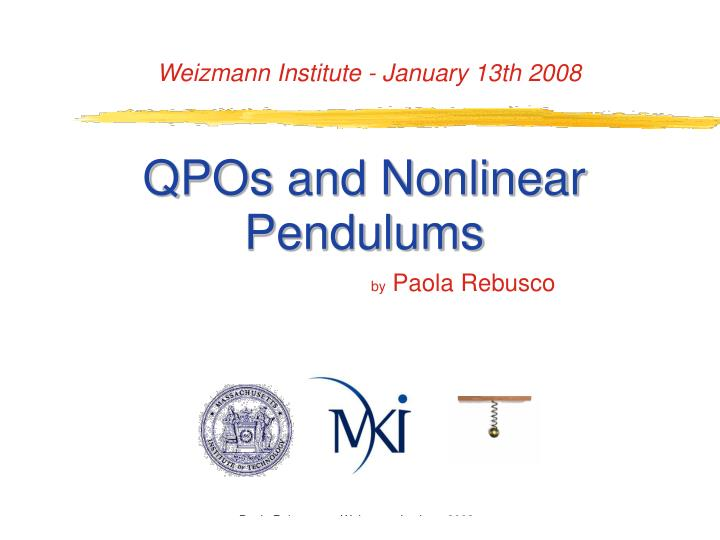 qpos and nonlinear pendulums n.