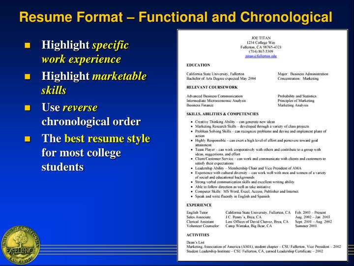 Resume Format – Functional and Chronological