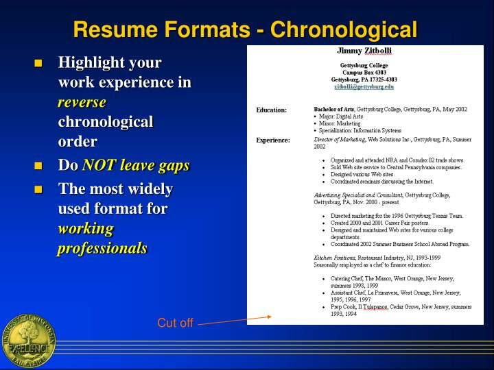 Resume Formats - Chronological