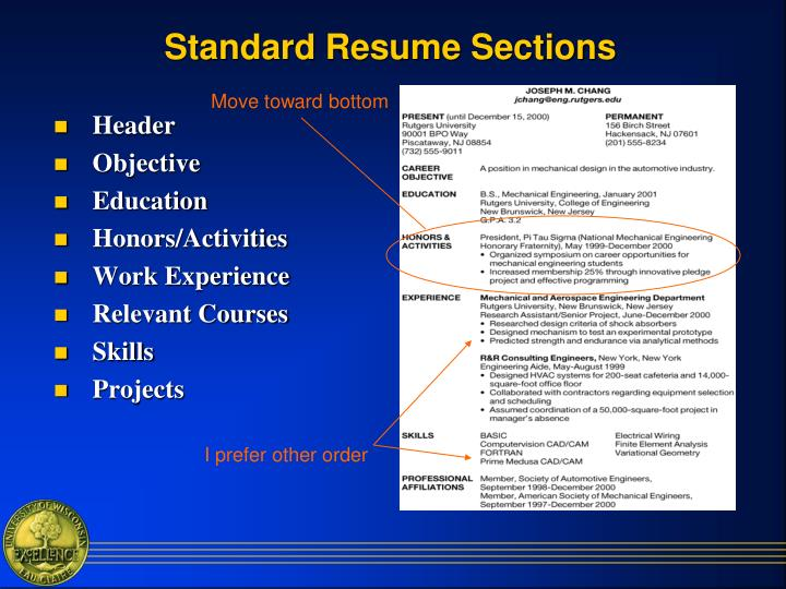 Standard Resume Sections