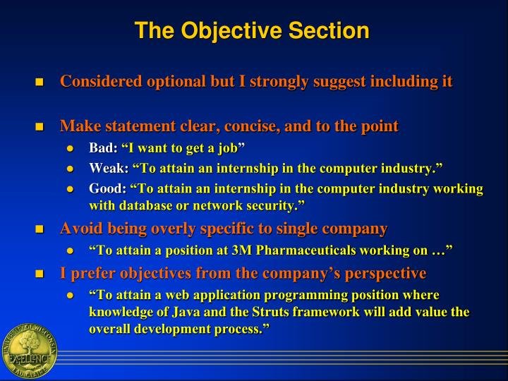 The Objective Section