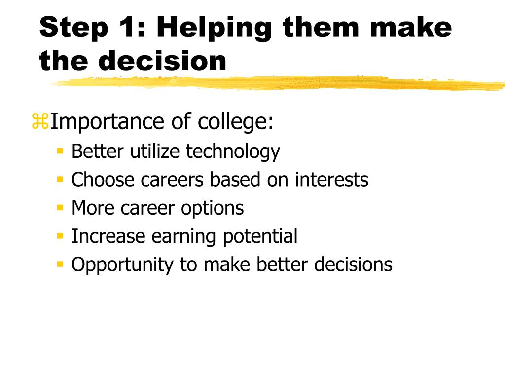 Step 1: Helping them make the decision