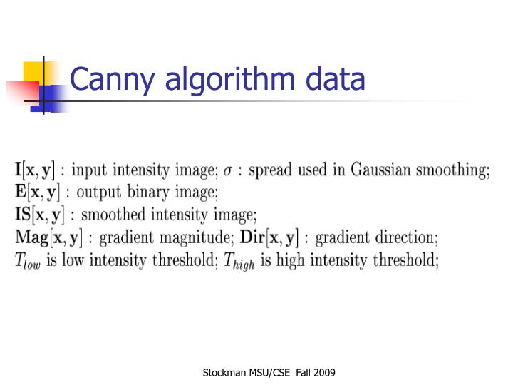 Canny algorithm data