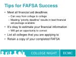 tips for fafsa success
