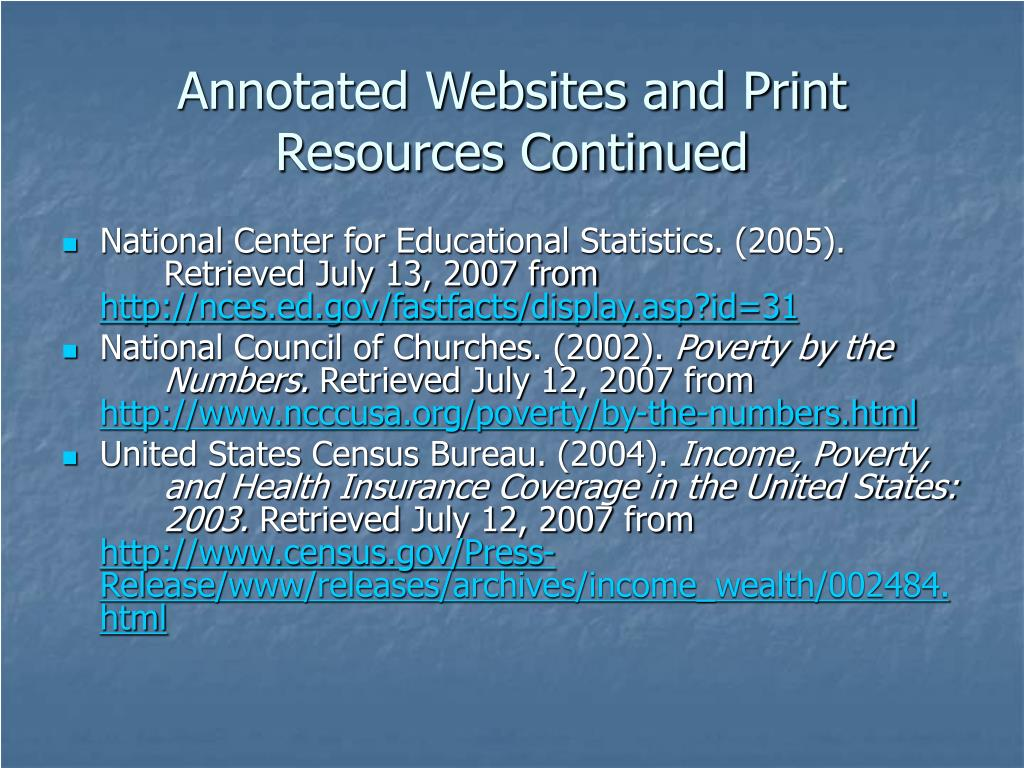 Annotated Websites and Print Resources Continued