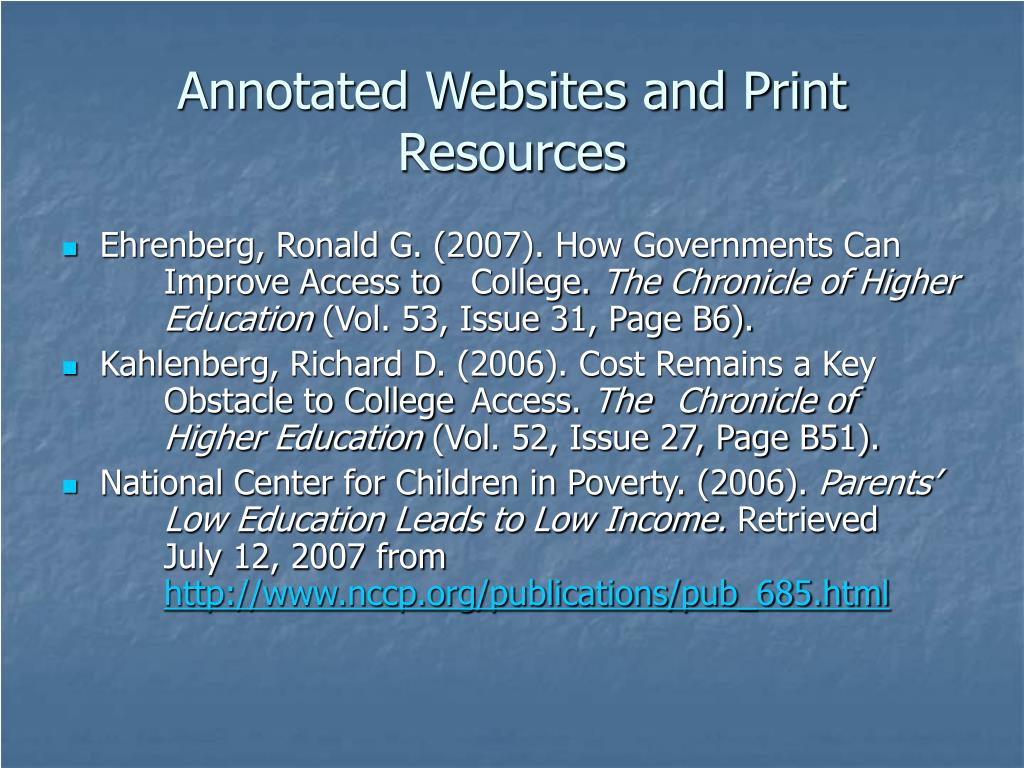 Annotated Websites and Print Resources