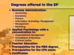 degrees offered in the ep
