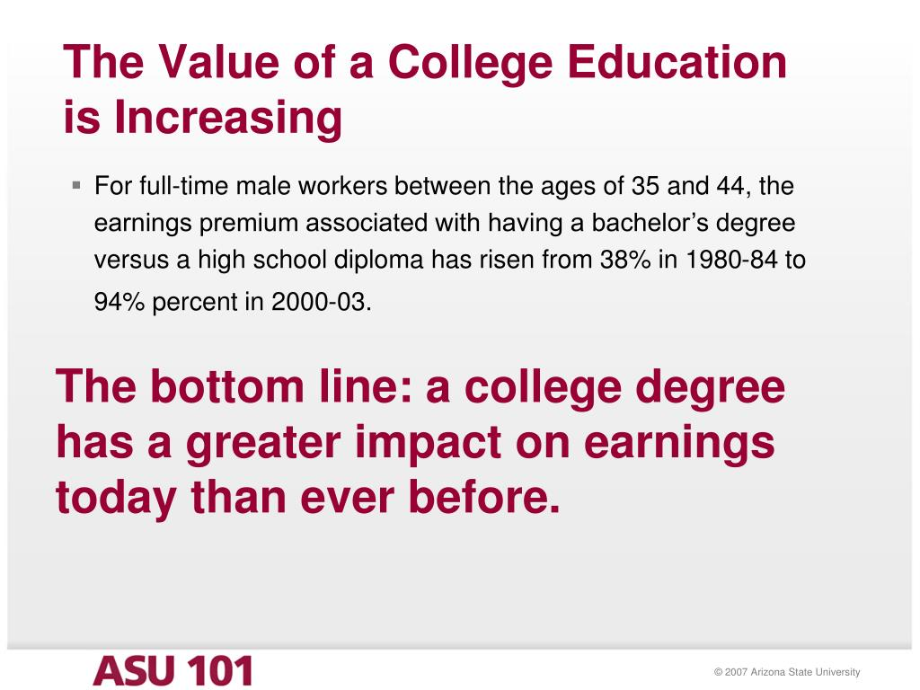The Value of a College Education is Increasing