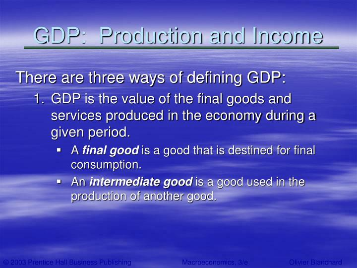 Gdp production and income