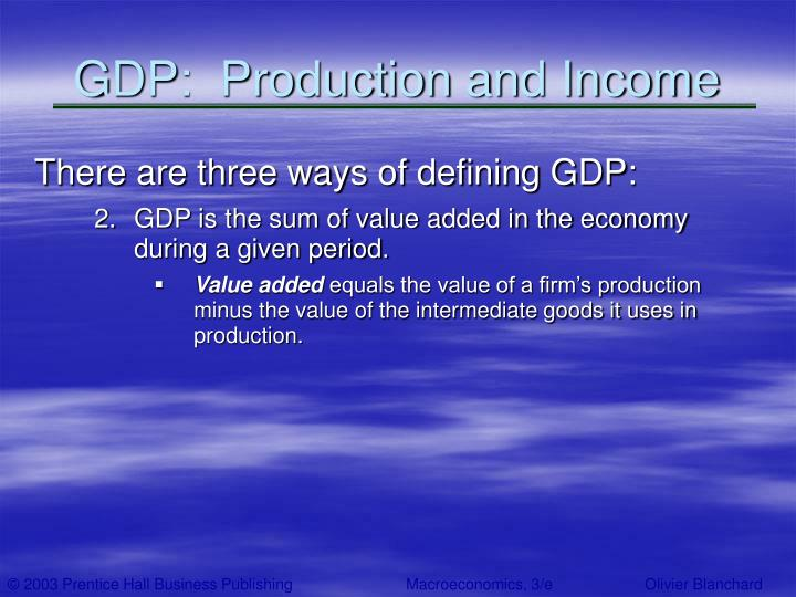 GDP:  Production and Income