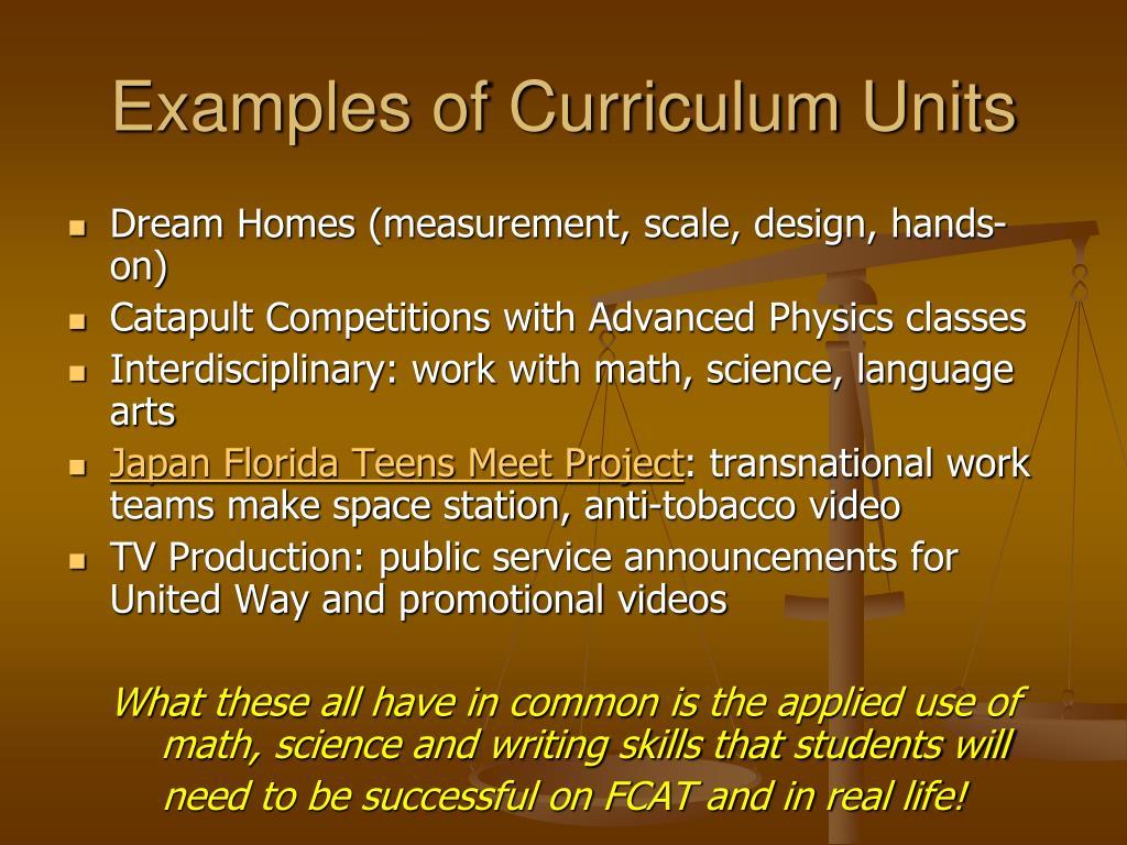 Examples of Curriculum Units
