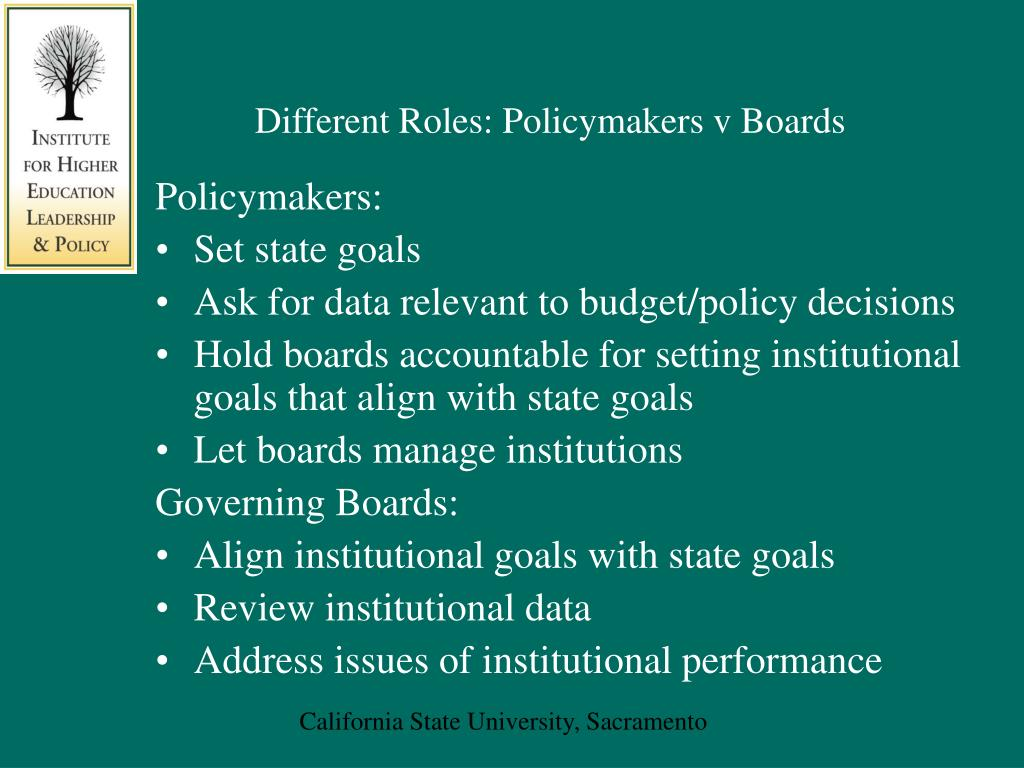Different Roles: Policymakers v Boards