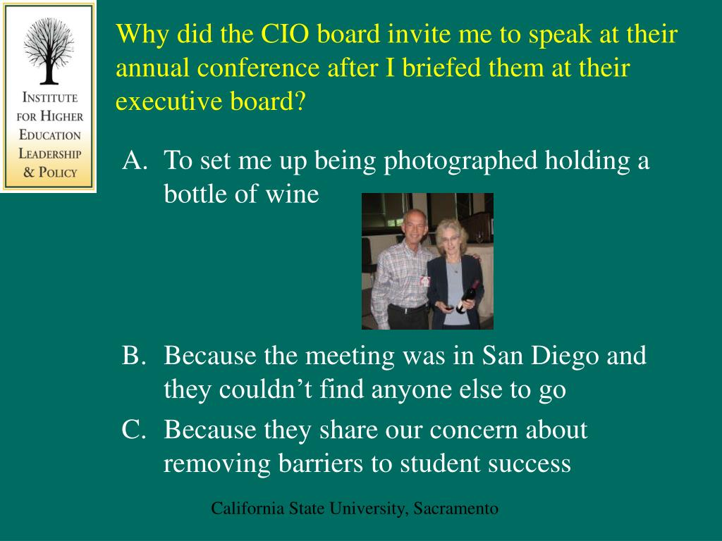 Why did the CIO board invite me to speak at their annual conference after I briefed them at their executive board?