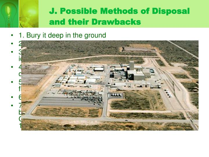 J. Possible Methods of Disposal and their Drawbacks