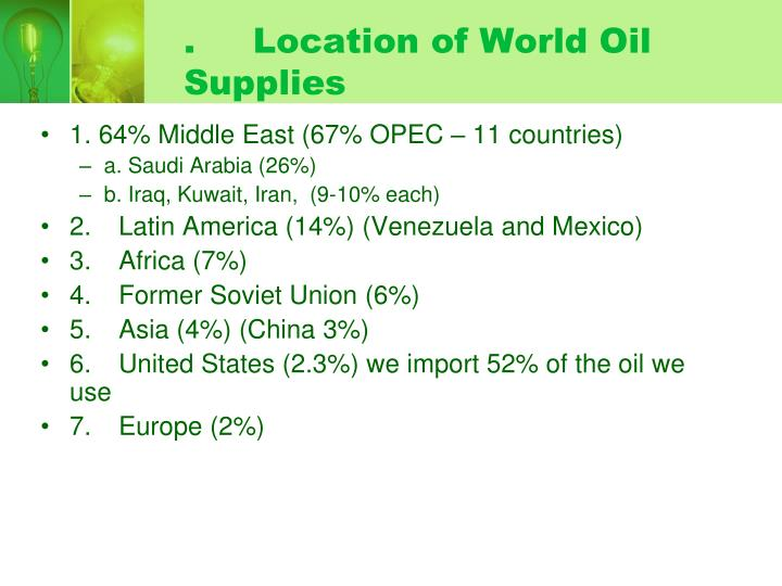. Location of World Oil Supplies