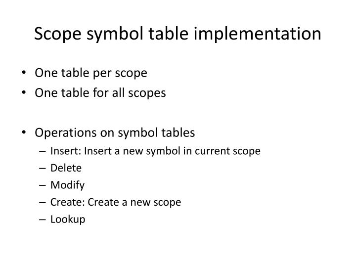 Ppt symbol table powerpoint presentation id1156853 scope symbol table implementation urtaz Image collections