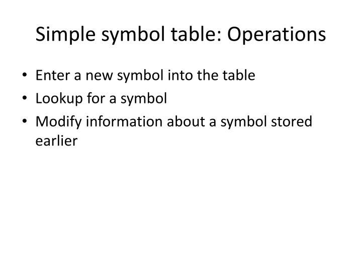 Ppt symbol table powerpoint presentation id1156853 simple symbol table operations urtaz Image collections