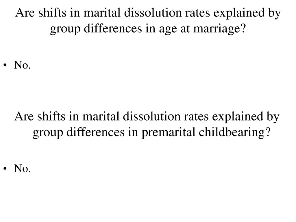 Are shifts in marital dissolution rates explained by group differences in age at marriage?